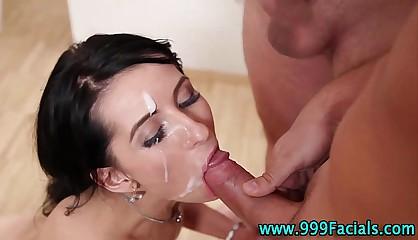 Pov babe gets facials after cock sucking