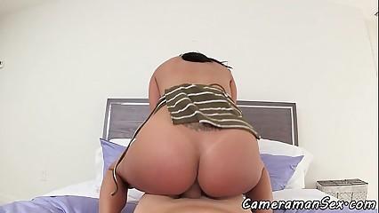 POV fucked babe rides cock