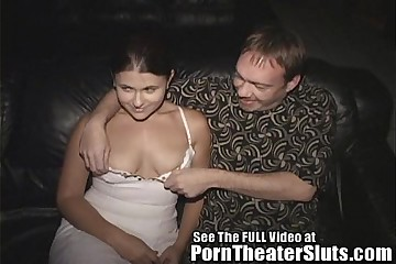 Cheating Slut Wife Pleases Porn Theater Strangers In A Public Gang Bang