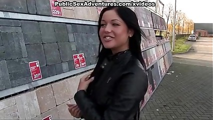 Naughty girl in sexy panty fucked in public
