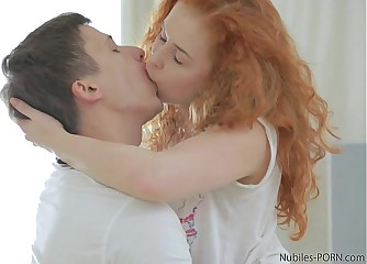 Redhead amateur takes a mouthful of cum