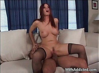 Redhead slut is addict for big cocks