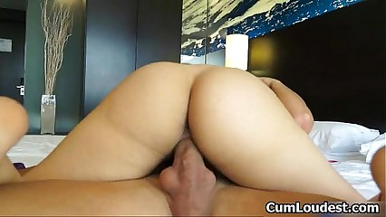 Hot brunette slut goes crazy riding