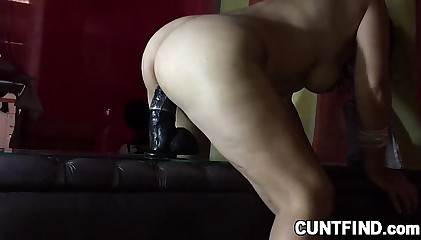 Huge dildo riding babe