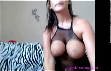 Cute brunette riding on webcam