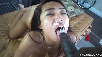 Sasha Yamagucci riding black cock
