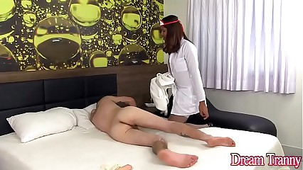 Shemale nurse Yasmin Fontes fucks a guy