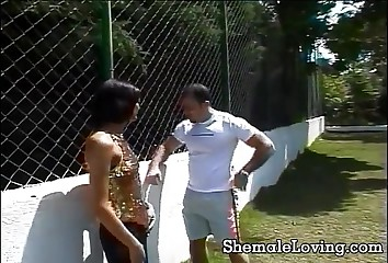 Shemale gets fucked hard and jizzed on