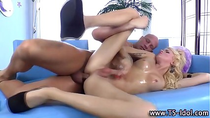 Hard cock shemale gets fucked