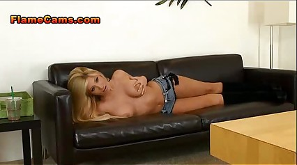 Blonde Cam Girl In Boots Teases