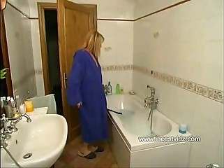 Italian Mom and Son In The Shower
