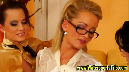 Pee watersports fetish clothed lesbian piss shower