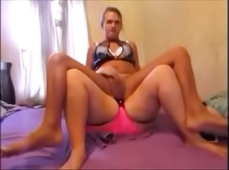 Sexy Sissy Ride Strap On While Girl Jacks Her Off Making Her Cum