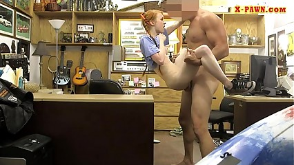 Very slim babe banged at the pawnshop