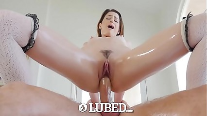 LUBED Private school girl Kristen Scott messy lubed up fuck