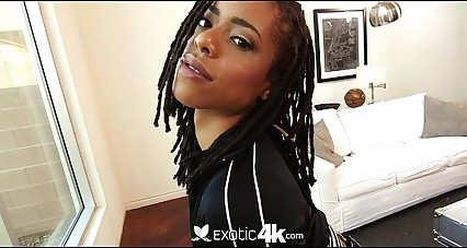 Exotic4K - Skinny black beauty Kira Noir takes a dick hard