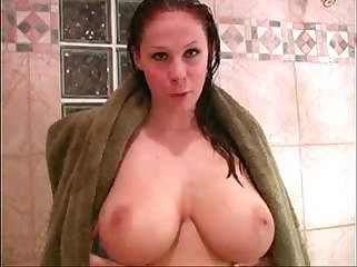Becky huge boobs in the shower orgasm with sticy dildo