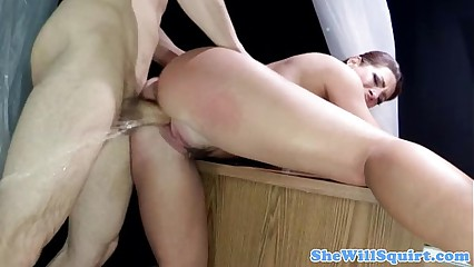 BDSM brunette gusher serves master