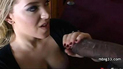 Hottie sucks and fucks a big black dick