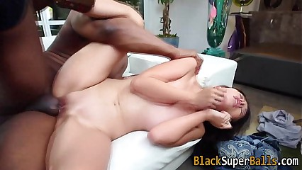Tiny asian takes big dick