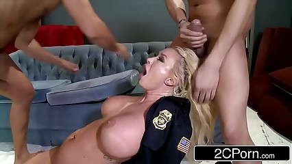 Police Office Summer Brielle Double-Teamed By Two Criminals