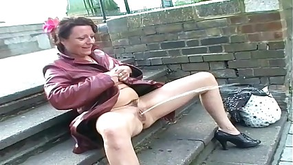 Upskirt public masturbation and nude outdoor flashing of uk mature amateur