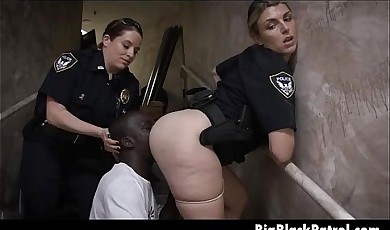 Two White Female Cops Smoking Black Pole In Stair Case