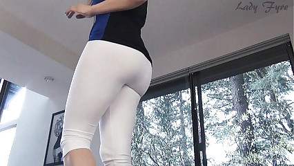 White yoga pants ass worship leg tease Lady Fyre