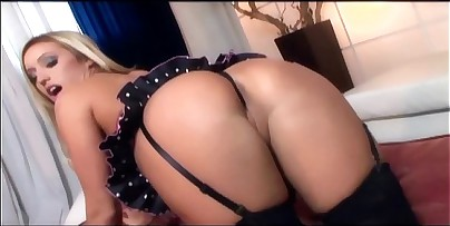 Blonde with huge boobs masturbates in lingerie