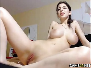 Sexy Big Tit Babe With Great Pussy Teases, Toys, & Rubs On Free Webcam Show pt 10