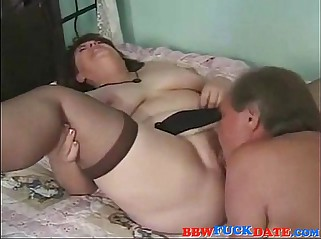 Old BBW creampie by her husband