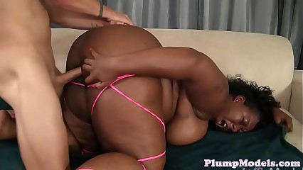 BBW ebony doggystyled after cocksucking