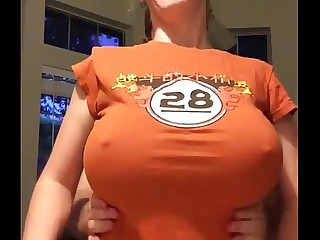 nerd with big tits orange shirt