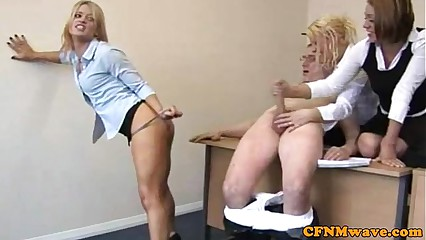 CFNM office whores spoiling cock