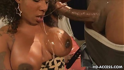 Ebony babe with big tits fucks and sucks