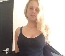 Hot blonde girl Dylanlov with natural big tits strips in cam