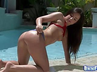 Brunette In Fishnet Bikini