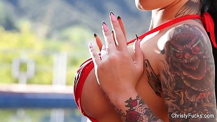 Hot Red String Bikini With Christy Mack