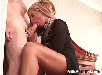 Adorable blonde MILF sucks guy cock