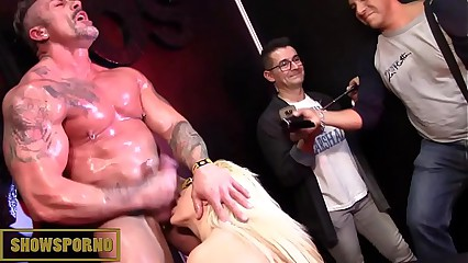 Bigtits blonde and monster cock fucking in private room