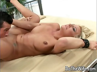 Blonde wife takes big fat cock