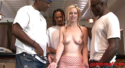 Pretty blonde babe banged by black guys in many poses