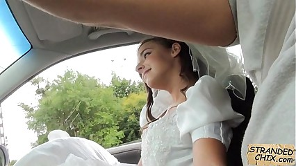 Stranded bride fucks in wedding gown by stranger