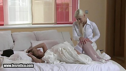 Brunette lesbian bride getting her wet pussy licked