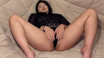 Sexy Asian Babe Finger fucks her pussy until she's dripping wet