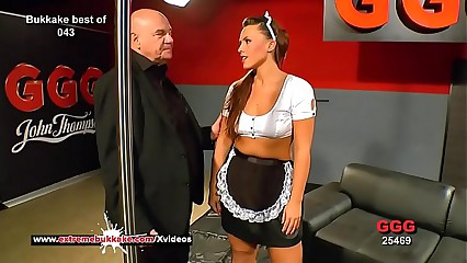 Curvy babe Sanny gets her pretty face cum covered - Extreme Bukkake