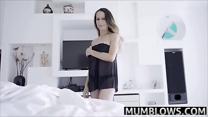 Son with a boner drills Mom