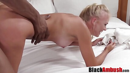 Tanline blonde Chanel Summers surprised by massive BBC fuck