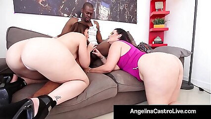 Cuban Queen Angelina Castro & Sara Jay Blow A Big Black Dick