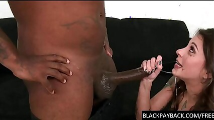 Pretty cunt chokes on a big black cock